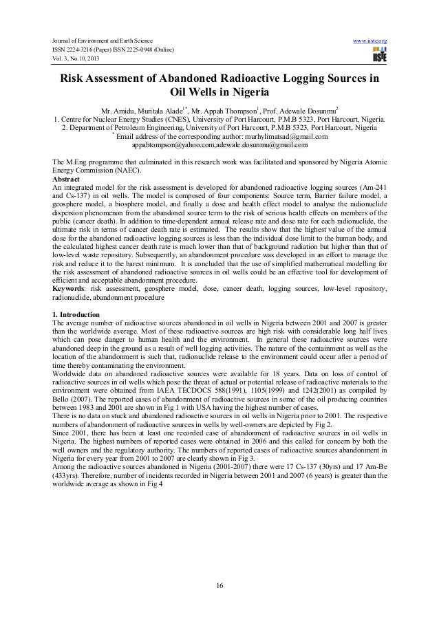 Journal of Environment and Earth Science ISSN 2224-3216 (Paper) ISSN 2225-0948 (Online) Vol. 3, No.10, 2013  www.iiste.org...