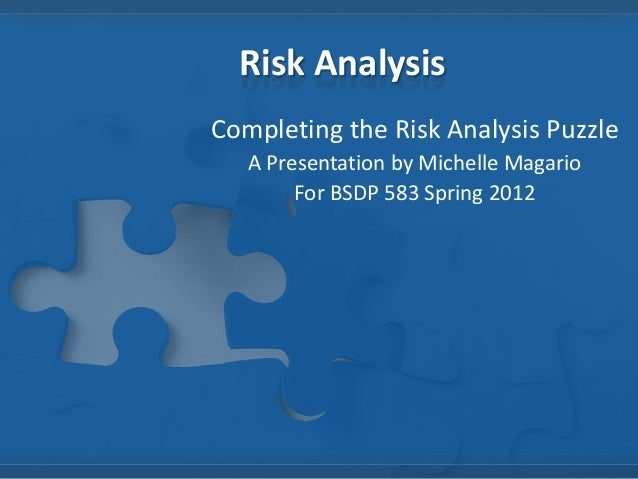 Risk Analysis Completing the Risk Analysis Puzzle A Presentation by Michelle Magario For BSDP 583 Spring 2012