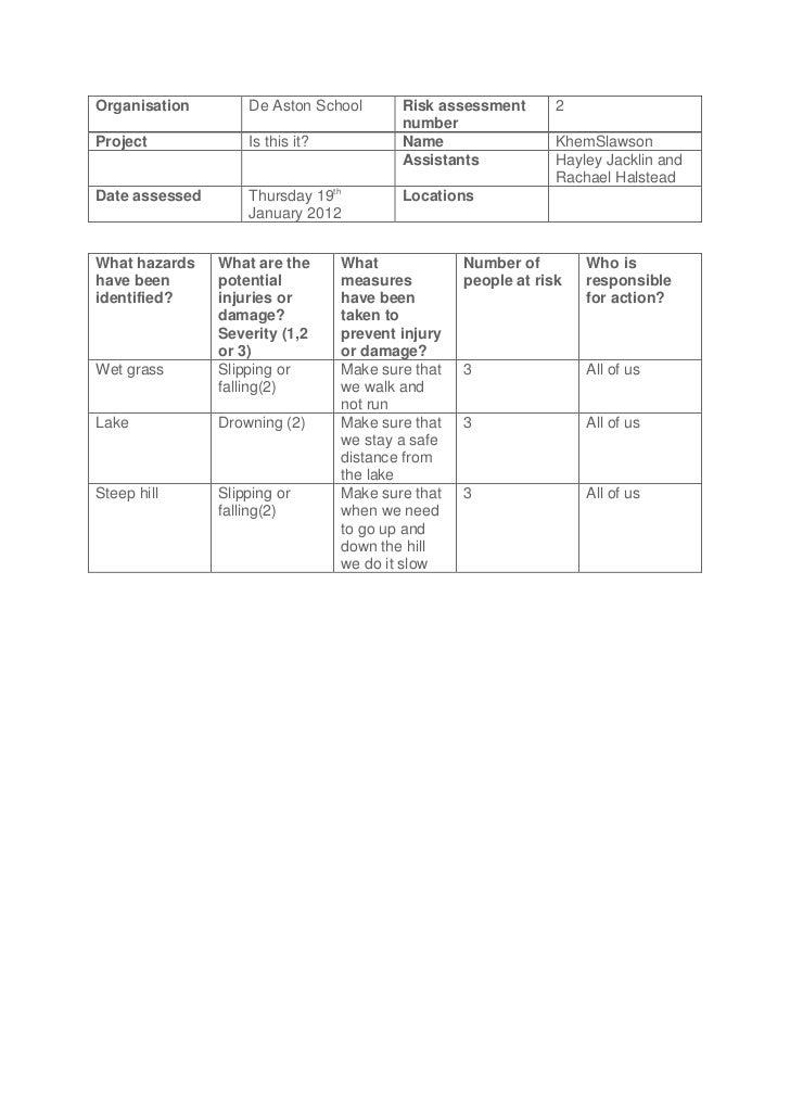 Organisation        De Aston School       Risk assessment       2                                          numberProject  ...