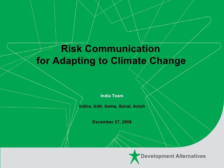 Risk Communication For Adapting To Climate Change