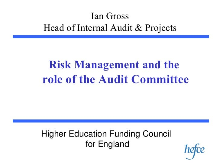 Ian Gross Head of Internal Audit & Projects Risk Management and the   role of the Audit Committee Higher Education Funding...