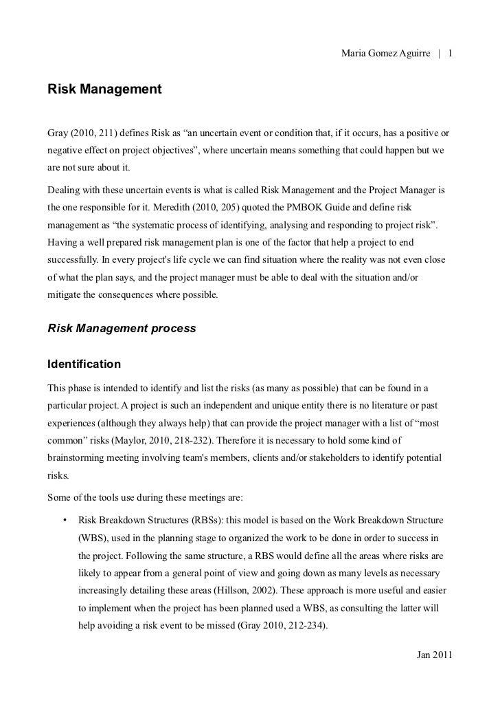 Project Management - Risk management