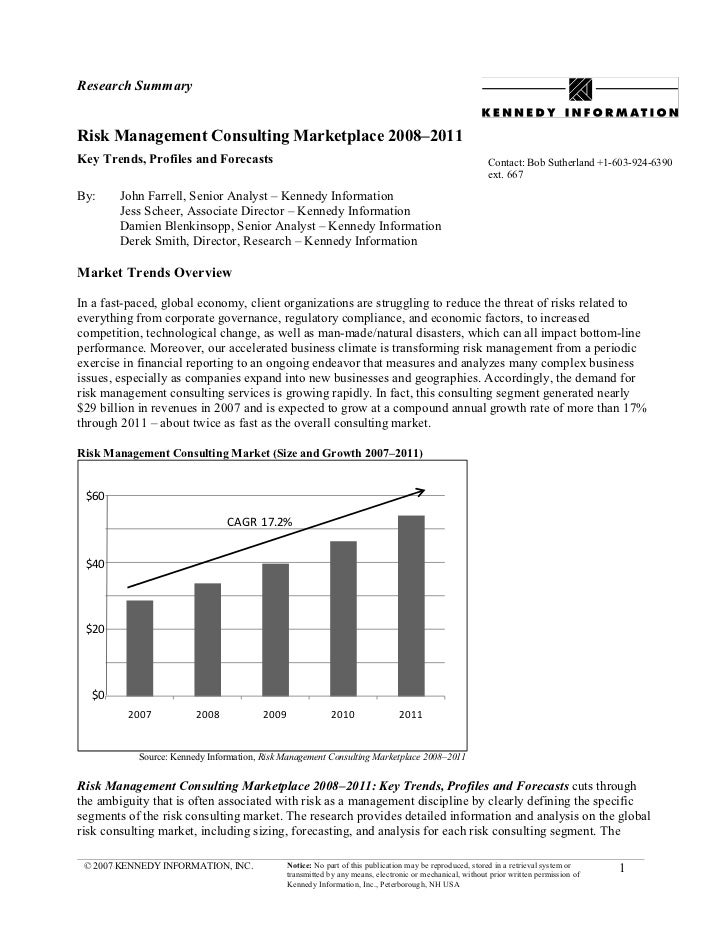 Research SummaryRisk Management Consulting Marketplace 2008–2011Key Trends, Profiles and Forecasts                        ...