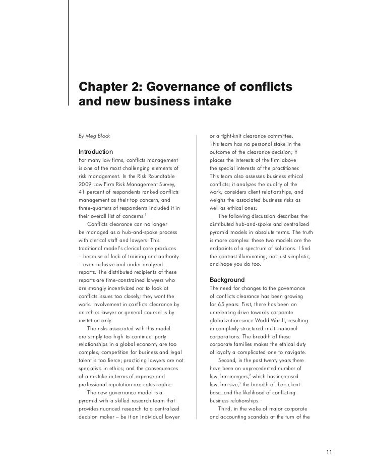 Chapter 2: Governance of conflictsand new business intakeBy Meg Block                                       or a tight-kni...