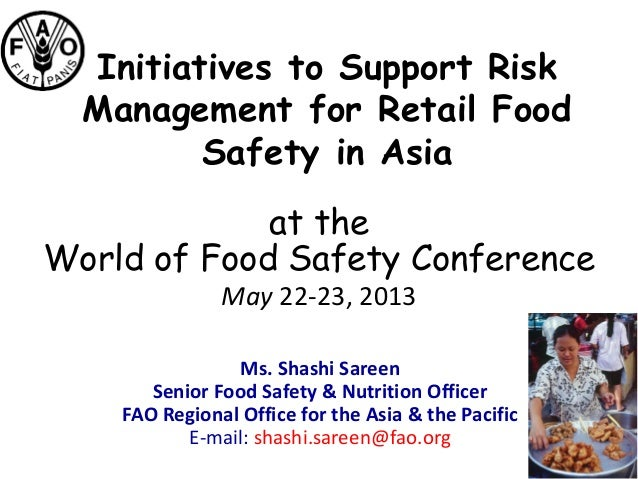 Risk Management for Retail Food Safety in Asia