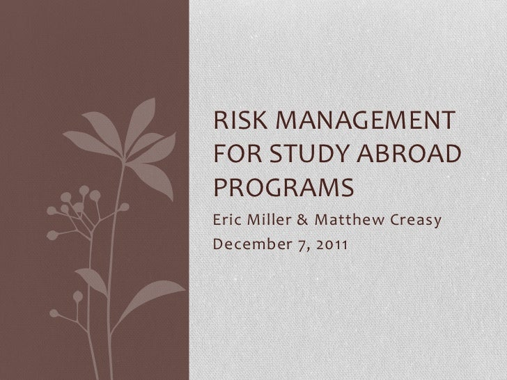 Risk management for study abroad programs