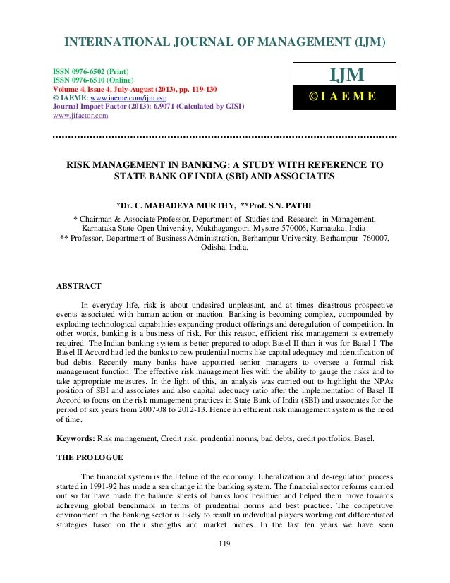 Risk management in banking a study with reference to state bank of india  sbi  a