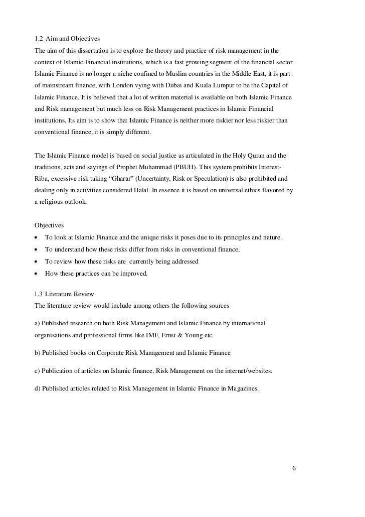 Dissertation proposal islamic finance