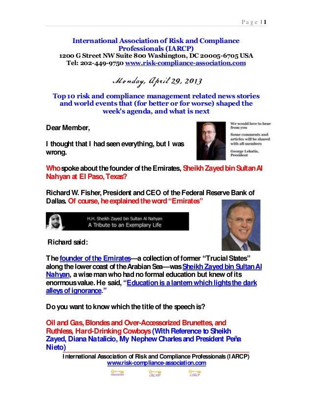 Risk management presentation April 29 2013