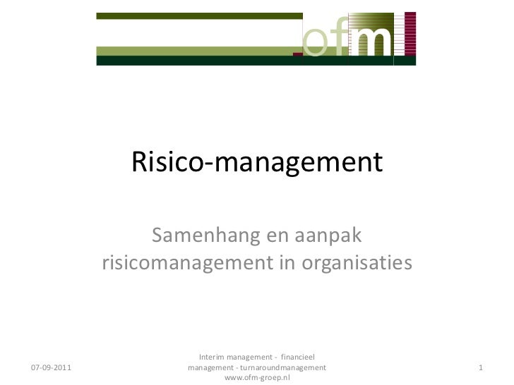 Riskmanagement Samenhang En Aanpak Risicomanagement Wbc N Lv2