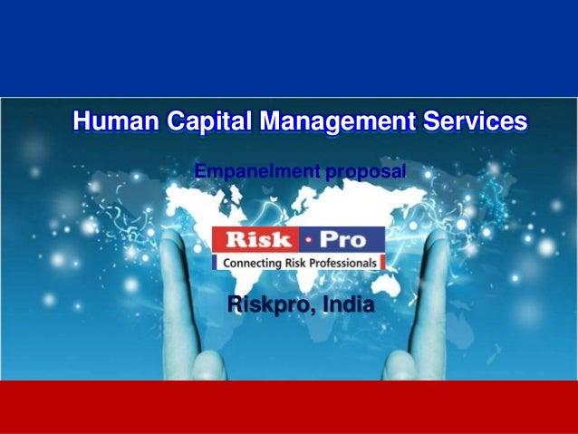 Riskpro human capital management services 2013