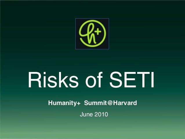 Risks of SETI