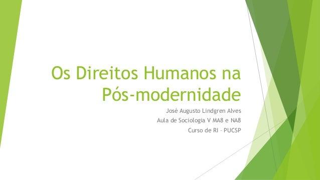 Os Direitos Humanos na Pós-modernidade José Augusto Lindgren Alves Aula de Sociologia V MA8 e NA8 Curso de RI – PUCSP