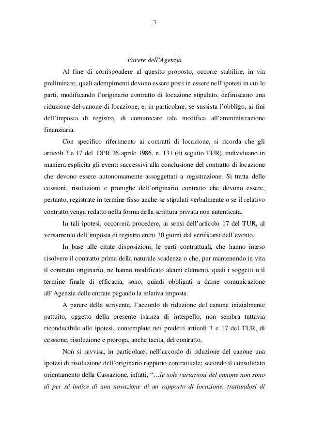 Riduzione del canone di locazione risoluzione 60 e for Imposta di registro locazione