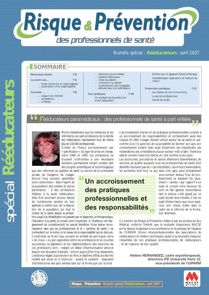 Numéro spécial - Rééducateurs - avril 2007                         SOMMAIRE                       Nouveaux textes         ...