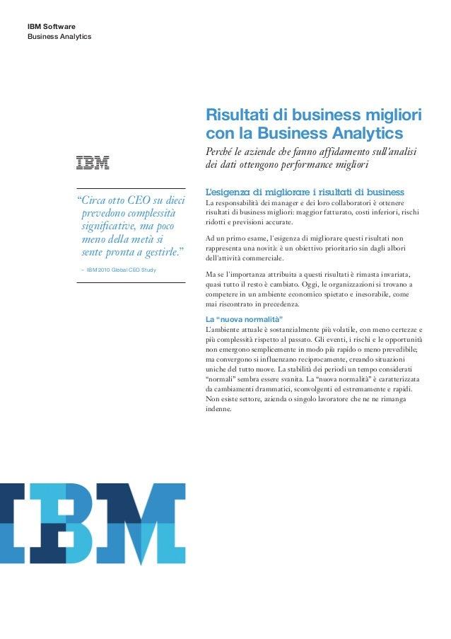 IBM SoftwareBusiness Analytics                                              Risultati di business migliori                ...