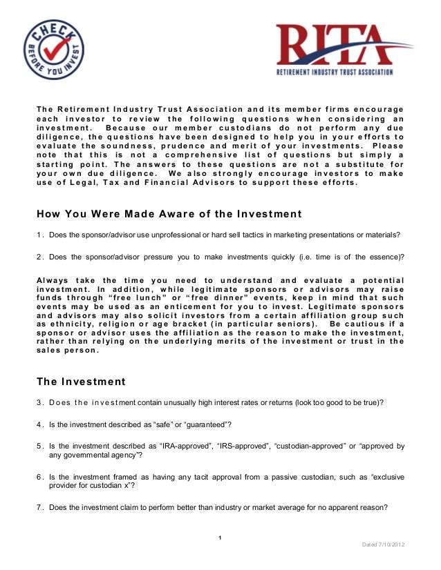 The Retirement Industry Trust Association and its member firms encourageeach investor to review the following questions wh...