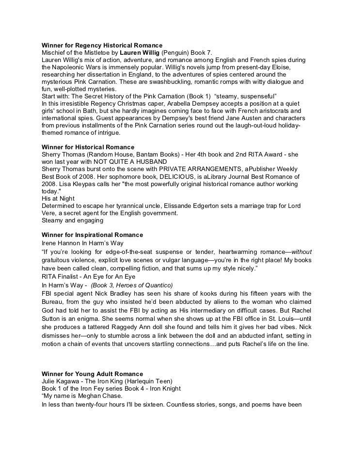 Winner for Regency Historical RomanceMischief of the Mistletoe by Lauren Willig (Penguin) Book 7.Lauren Willigs mix of act...