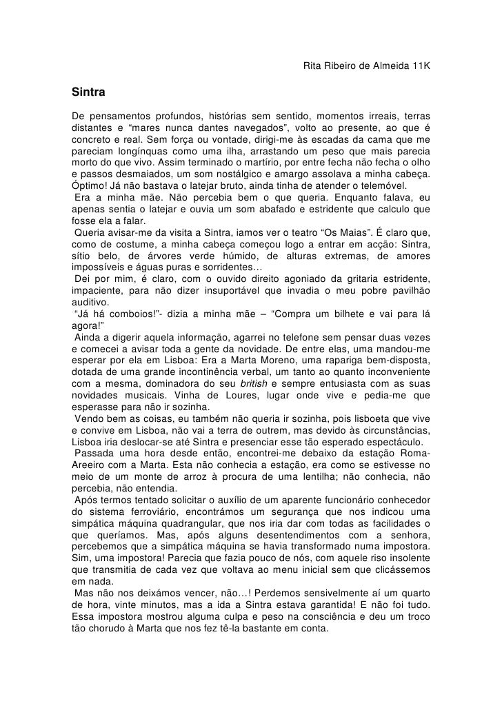 Rita Ribeiro de Almeida 11K  Sintra De pensamentos profundos, histórias sem sentido, momentos irreais, terras distantes e ...