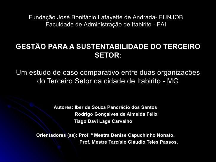 GESTÃO PARA A SUSTENTABILIDADE DO TERCEIRO SETOR : Um estudo de caso comparativo entre duas organizações do Terceiro Setor...