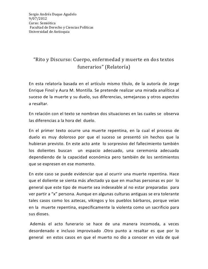 """Sergio Andrés Duque Agudelo9/07/2012Curso: SemióticaFacultad de Derecho y Ciencias PolíticasUniversidad de Antioquia  """"Rit..."""