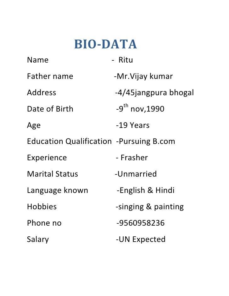 biodata format for student