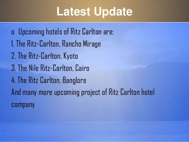 the ritz carlton hotel company It's been a back-to-our-roots scenario lately at the ritz-carlton hotel company, where herve humler, part of the original executive team that more than.