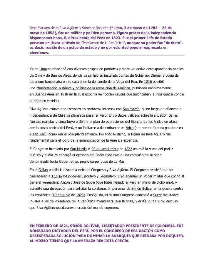 Riva aguero y bolivar dictador