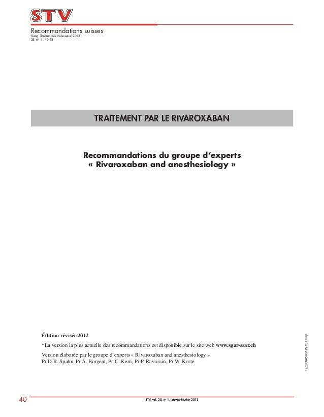 40 STV, vol. 25, no1, janvier-février 2013Recommandations suissesSang Thrombose Vaisseaux 2013 ;25, no1 : 40-53doi:10.1684...