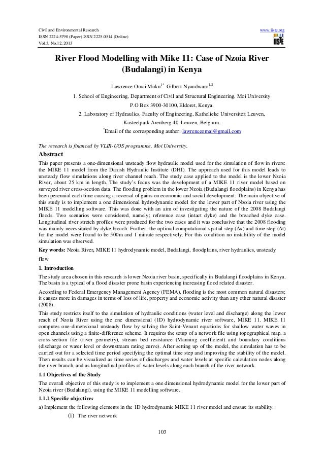Civil and Environmental Research ISSN 2224-5790 (Paper) ISSN 2225-0514 (Online) Vol.3, No.12, 2013  www.iiste.org  River F...