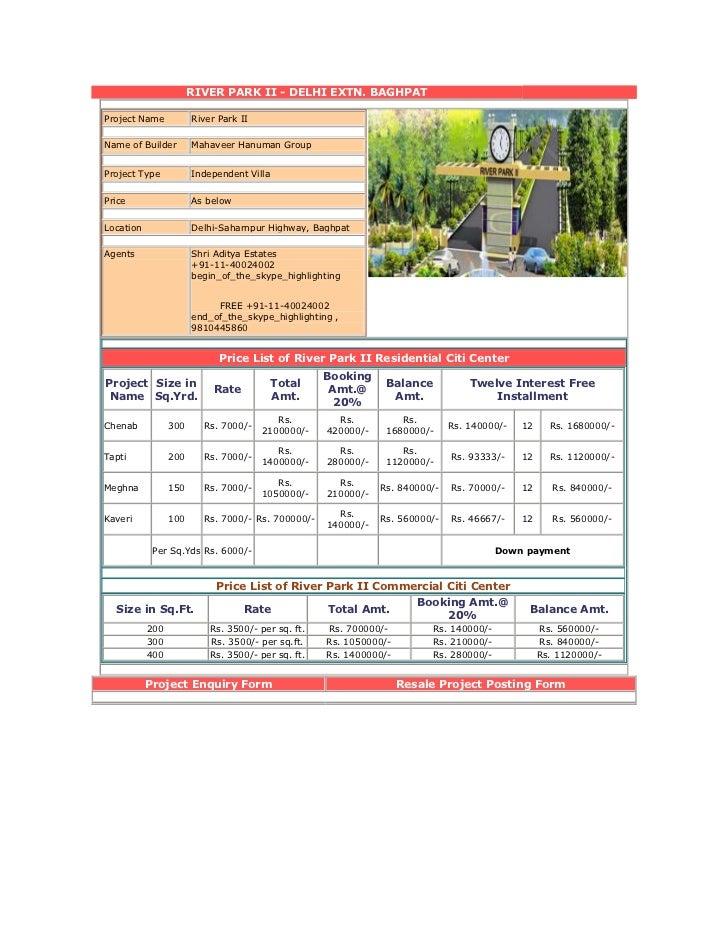 RIVER PARK II - DELHI EXTN. BAGHPATProject Name           River Park IIName of Builder        Mahaveer Hanuman GroupProjec...