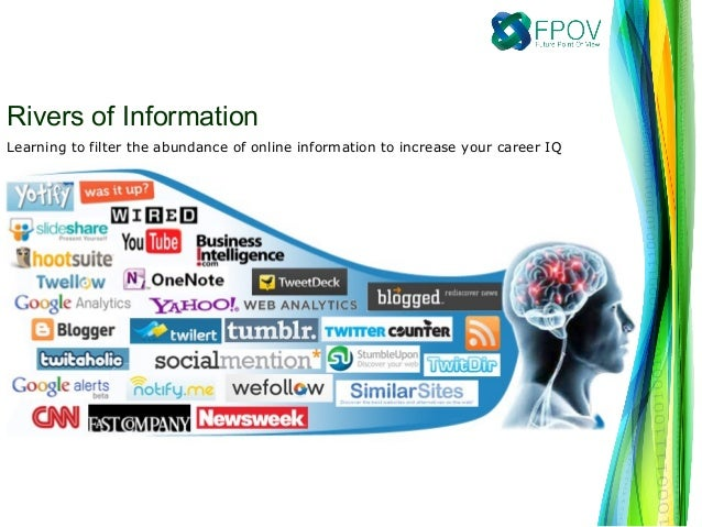 Learning to filter the abundance of online information to increase your career IQRivers of Information