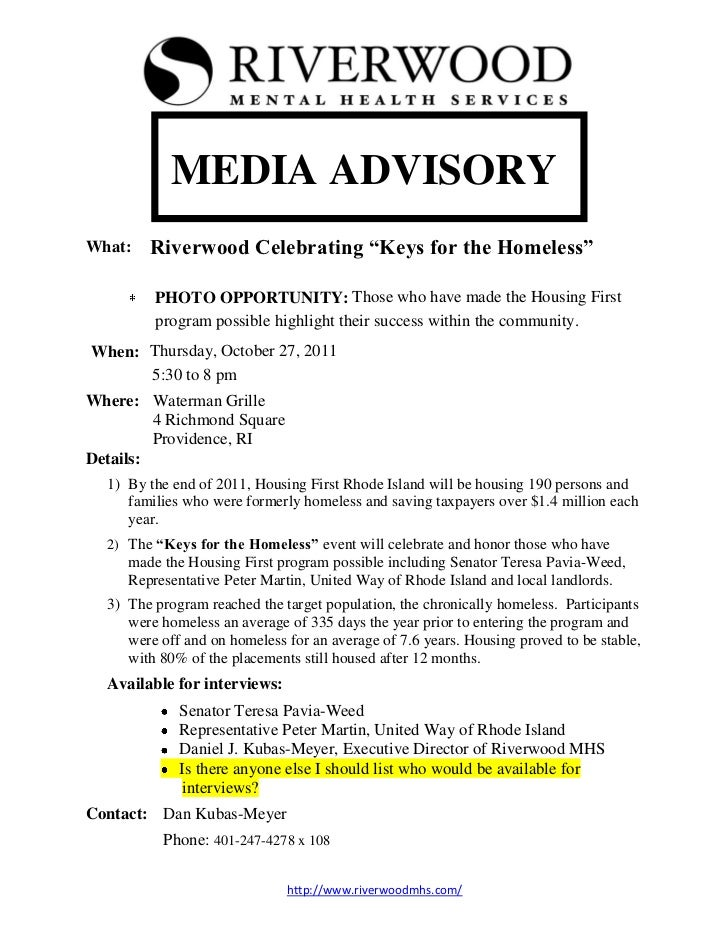 Riverwood mhs media advisory 2011 for Media alert template