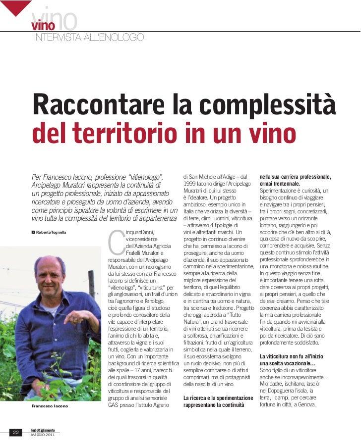 vino     vino      INTERVISTA ALL'ENOLOGO     Raccontare la complessità     del territorio in un vino     Per Francesco Ia...