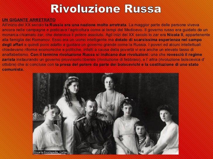 UN GIGANTE ARRETRATOAll'iniziodelXXsecolola Russia era una nazione molto arretrata.Lamaggiorpartedellepersoneviv...