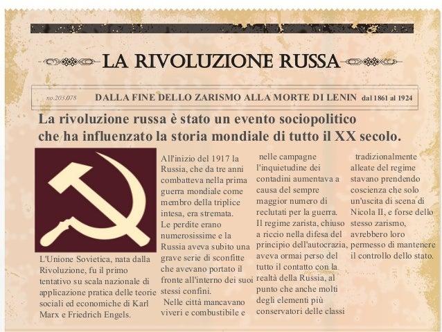 La Rivoluzione russa               DALLA FINE DELLO ZARISMO ALLA MORTE DI LENIN                                   dal 1861...