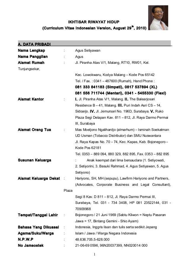 IKHTISAR RIWAYAT HIDUP(Curriculum Vitae Indonesian Version, August 29th, 2010)A. DATA PRIBADINama Lengkap : Agus Setiyawan...