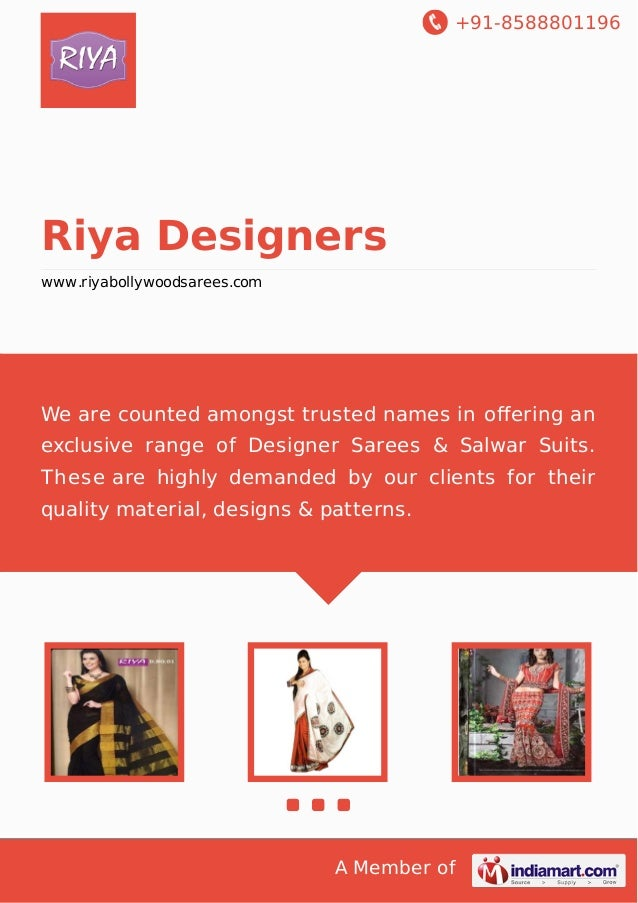 +91-8588801196  Riya Designers www.riyabollywoodsarees.com  We are counted amongst trusted names in offering an exclusive r...