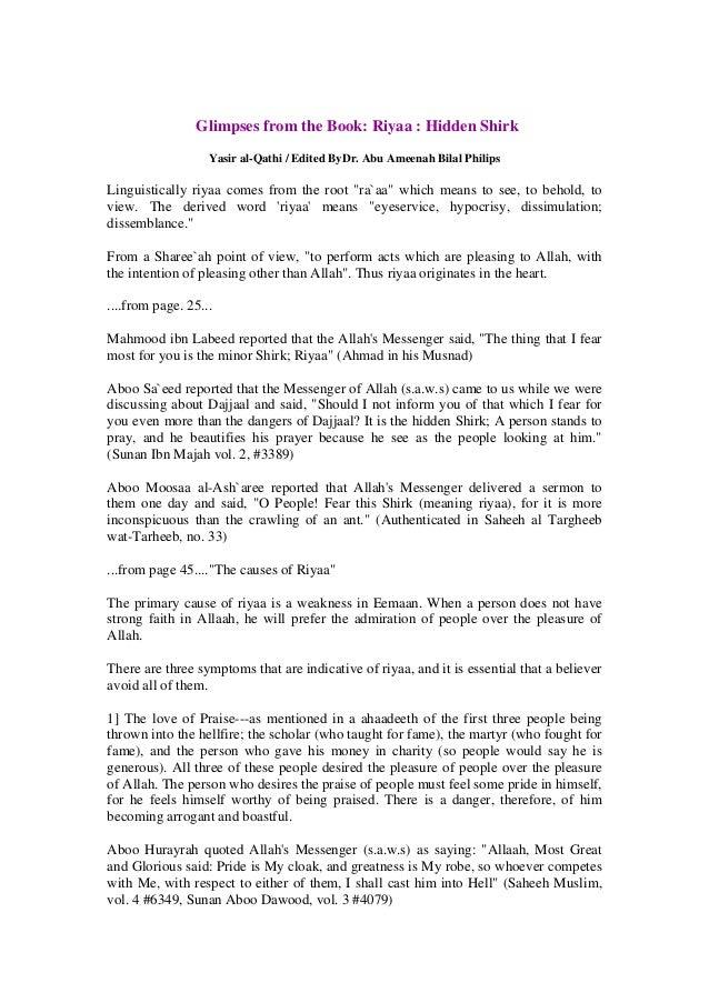 Glimpses from the Book: Riyaa : Hidden Shirk                   Yasir al-Qathi / Edited ByDr. Abu Ameenah Bilal PhilipsLing...