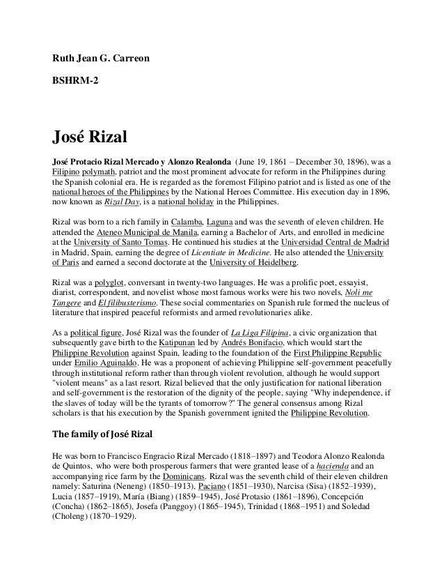 Ruth Jean G. CarreonBSHRM-2José RizalJosé Protacio Rizal Mercado y Alonzo Realonda (June 19, 1861 – December 30, 1896), wa...