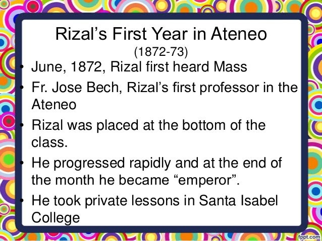 rizal in ateneo The project gutenberg ebook of rizal's own story of his life, by jose rizal  an  ateneo professor modeled by rizal in dapitan from memory.