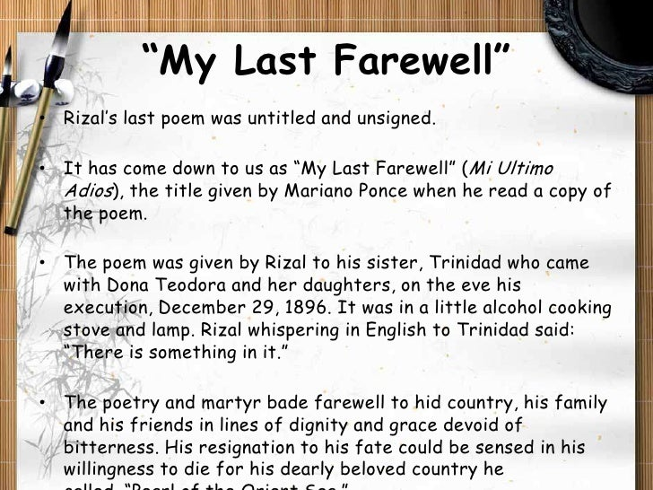 Jose Rizal, My Last Farewell Explanation