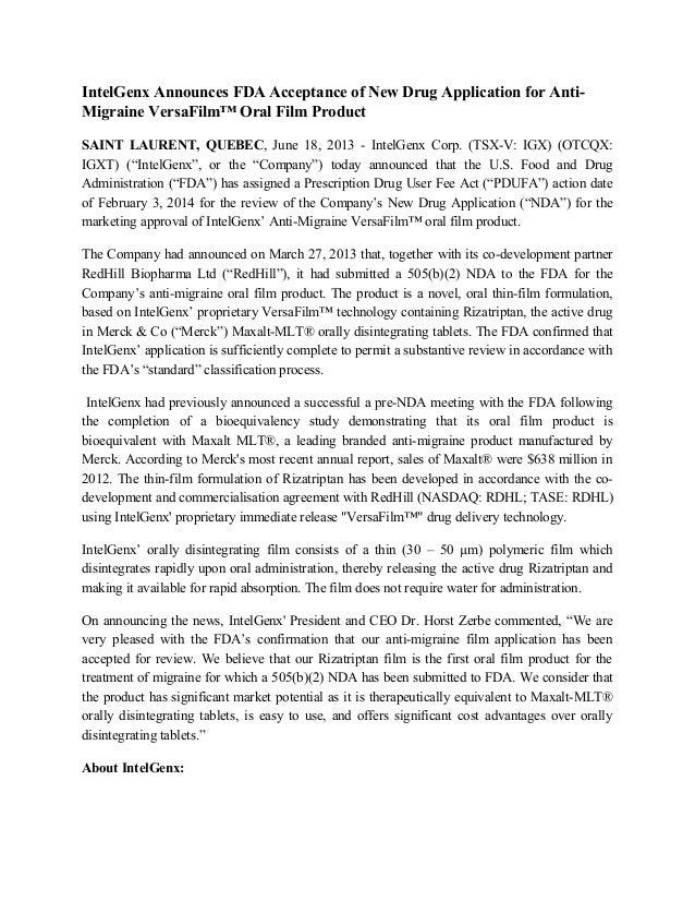 IntelGenx Announces FDA Acceptance of New Drug Application for Anti-Migraine VersaFilm™ Oral Film ProductSAINT LAURENT, QU...