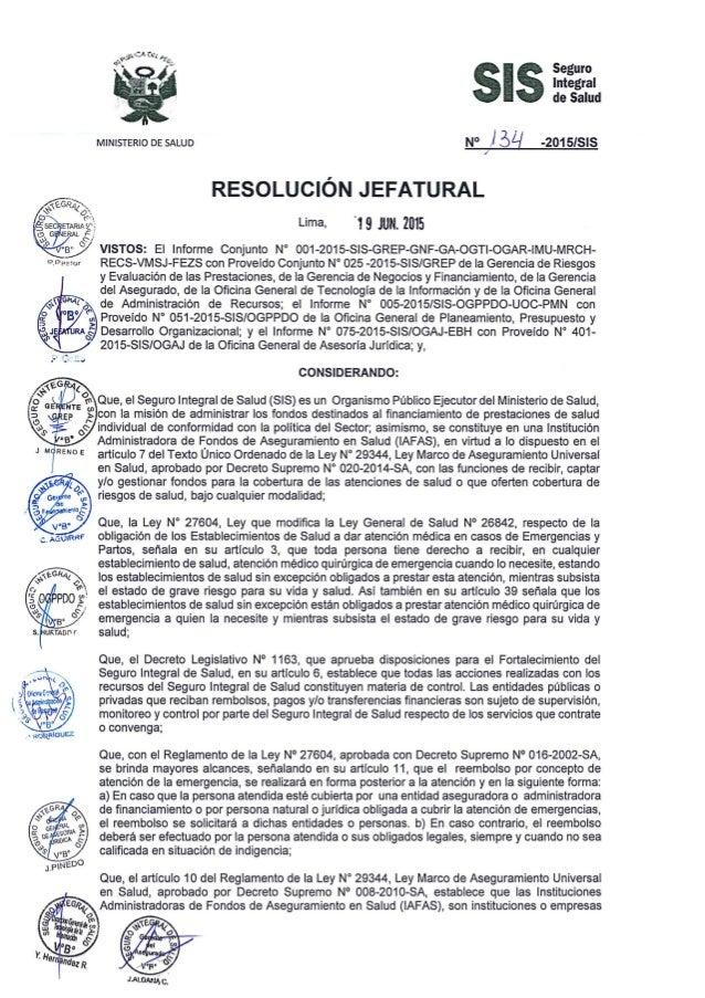 Integral de Salud       MINISTERIO DE SALUD N° ll  ' -2015IS| S  /   RESOLUC| ÓN JEFATURAL Lima.  '19 JUN.  2015     RECS-...