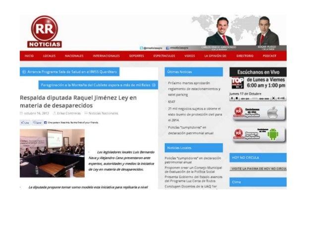 Respalda diputada Raquel Jiménez Ley en materia de desaparecidos octubre 16, 2013 Erika Contreras Noticias Nacionales • • ...