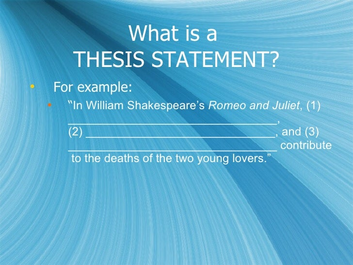 Romeo and Juliet thesis?