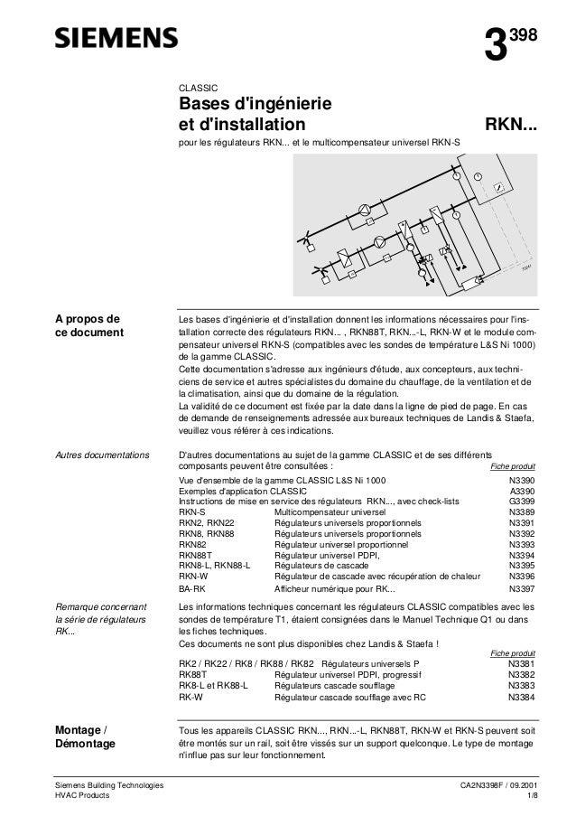 3  398  CLASSIC  Bases d'ingénierie et d'installation  RKN...  pour les régulateurs RKN... et le multicompensateur univers...