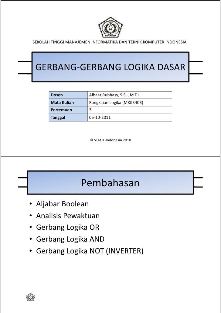 SEKOLAH TINGGI MANAJEMEN INFORMATIKA DAN TEKNIK KOMPUTER INDONESIA     GERBANG-GERBANG LOGIKA DASAR           Dosen       ...
