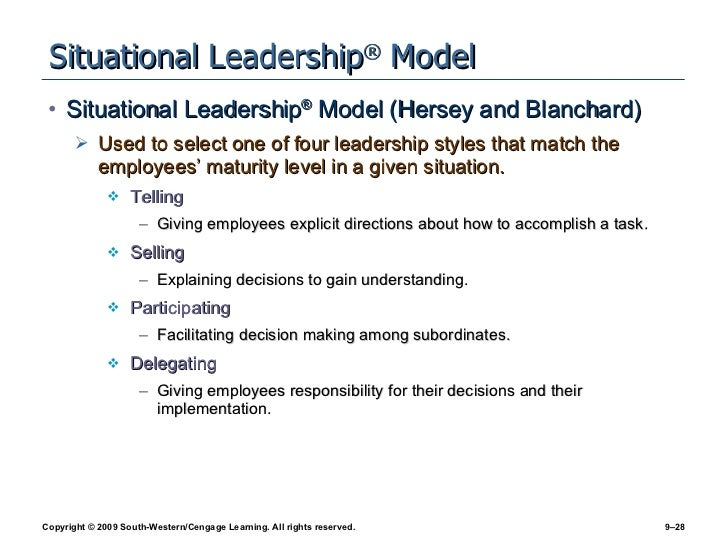 hersey blanchard model and the vroom jago model • the hersey-blanchard situational leadership model identifies four leadership styles - participating, delegating, telling, and selling, with each representing a different combination of task-oriented and relationship-oriented behaviors.