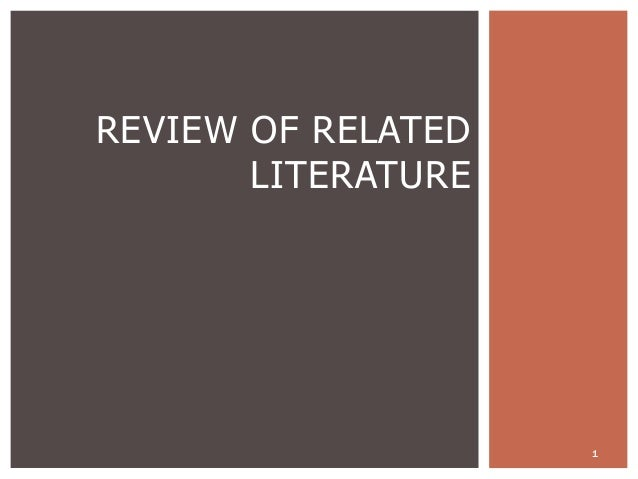1 REVIEW OF RELATED LITERATURE